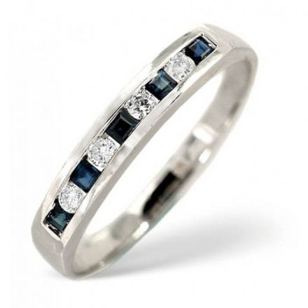 18K White Gold 0.09ct H/si Diamond & 0.20ct Sapphire Ring, L2163